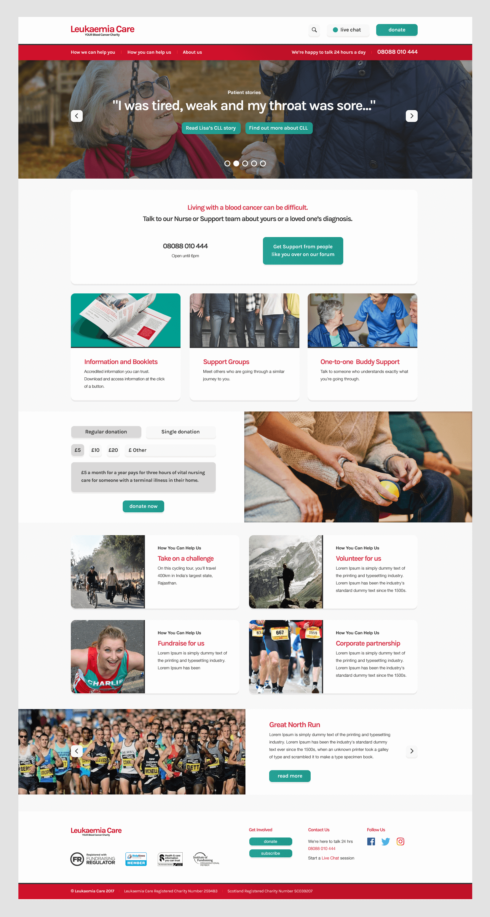 Leukaemia Care Home Page Design
